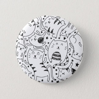 Funny sketchy dancing cats doodles pattern button