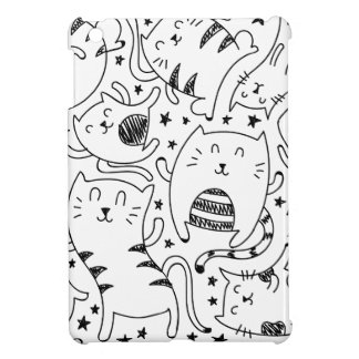 Funny sketchy dancing cats doodles pattern cover for the iPad mini