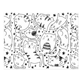 Funny sketchy dancing cats doodles pattern postcard