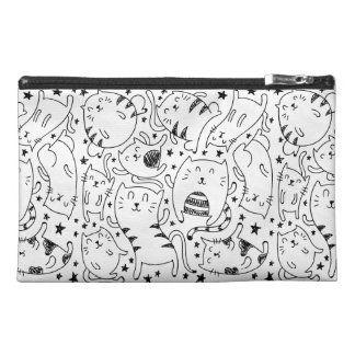 Funny sketchy dancing cats illustration pattern travel accessory bag