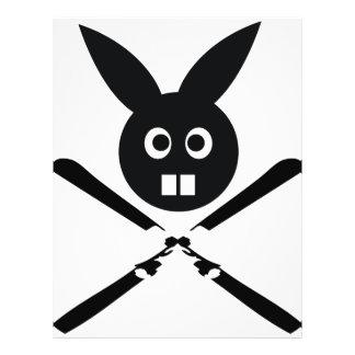 funny ski bunny icon flyer