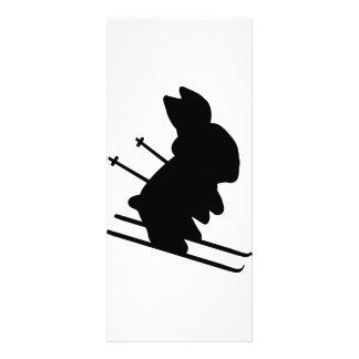 funny skier bunny icon custom rack card