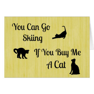 Funny Skiing Cat Note Cards