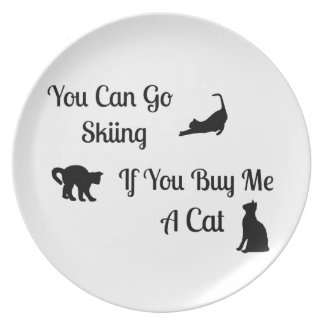 Funny Skiing Cat Plate