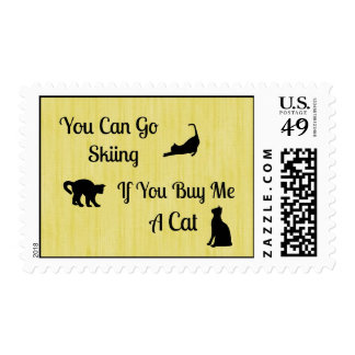 Funny Skiing Cat Postage Stamps