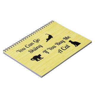 Funny Skiing Cat Spiral Notebook