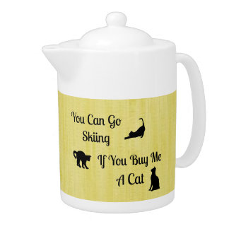 Funny Skiing Cat Teapot