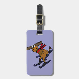 Funny Skiing Moose Luggage Tag