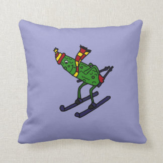 Funny Skiing Pickle Cartoon Pillow