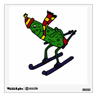 Funny Skiing Pickle Cartoon Room Decals