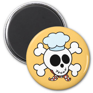 Funny Skull and Crossbones Chef 2 Inch Round Magnet