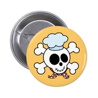 Funny Skull and Crossbones Chef Pinback Buttons