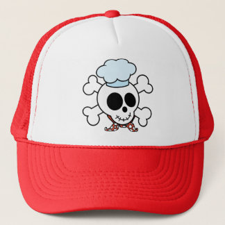 Funny Skull and Crossbones Chef Trucker Hat