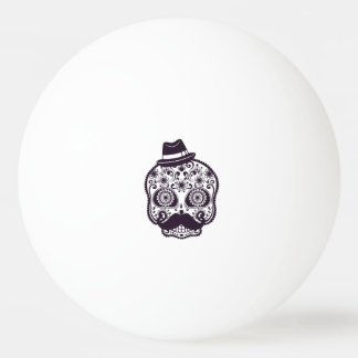Funny Skull with Derby & Mustache Ping-Pong Ball
