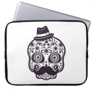Funny Skull with Derby & Mustache Laptop Sleeve