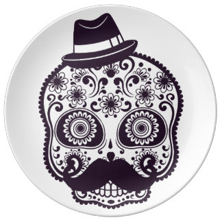 Funny Skull with Derby & Mustache Porcelain Plates
