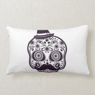 Funny Skull with Derby & Mustache Throw Pillows
