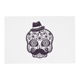 Funny Skull with Derby & Mustache Placemat