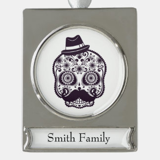 Funny Skull with Derby & Mustache Silver Plated Banner Ornament