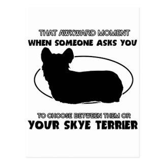 Funny skye terrier designs postcard