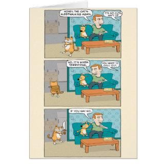 Funny Sleepwalking Cat Birthday Card