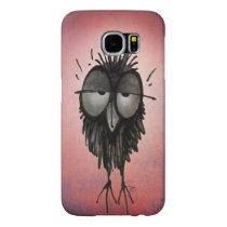 Funny Sleepy Cartoon Owl on Pink Samsung Galaxy S6 Case