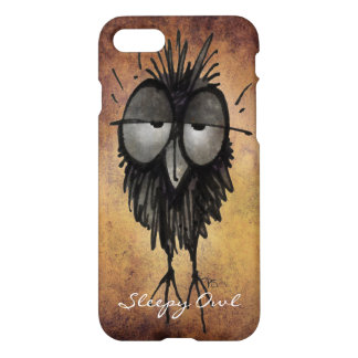 Funny Sleepy Owl Lover Illustration Art iPhone 7 Case