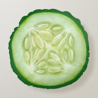 Funny Slice Of Cucumber Round Pillow