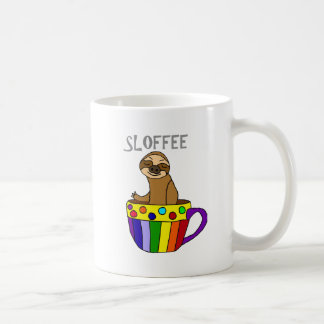 Funny SLOFFEE Sloth Drinking Coffee Design Coffee Mug