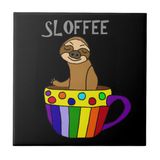Funny SLOFFEE Sloth Drinking Coffee Design Tile