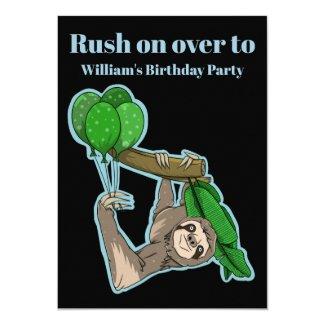 Funny sloth balloons birthday party invitation