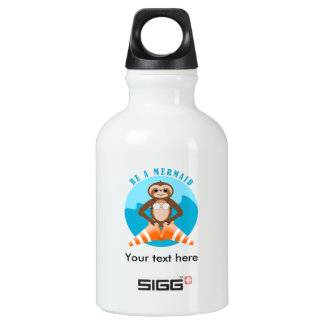 Funny Sloth Be a Mermaid Aluminum Water Bottle