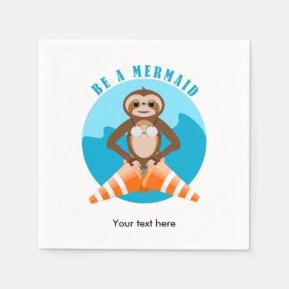 Funny Sloth Be a Mermaid Paper Napkin
