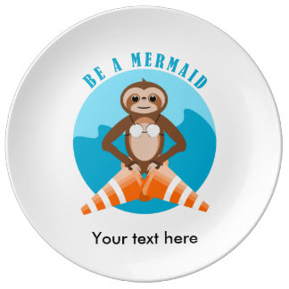 Funny Sloth Be a Mermaid Plate