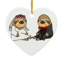 Funny Sloth Bride and Groom Wedding Ceramic Ornament