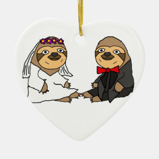 Funny Sloth Bride and Groom Wedding Ceramic Ornament