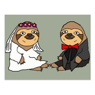 Funny Sloth Bride and Groom Wedding Postcard