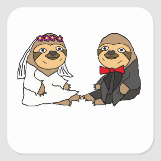 Funny Sloth Bride and Groom Wedding Square Sticker