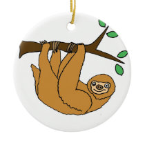 Funny Sloth Cartoon Ceramic Ornament