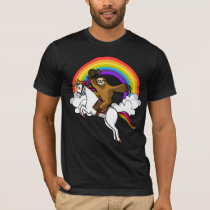 Funny Sloth Cowboy Riding Magical Unicorn Rainbow T-Shirt