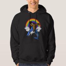 Funny Sloth Cowboy Riding Ocean Shark Rainbow Hoodie