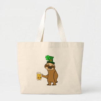 Funny Sloth Drinking Beer St. Patrick's Day Art Large Tote Bag