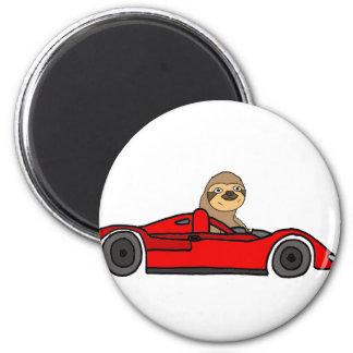 Funny Sloth Driving Race Car Cartoon Magnet