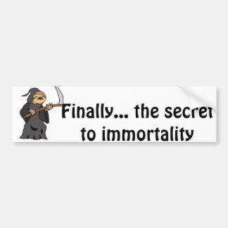 Funny Sloth Grim Reaper immortality Cartoon Bumper Sticker