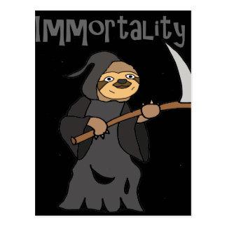 Funny Sloth Grim Reaper immortality Cartoon Postcard