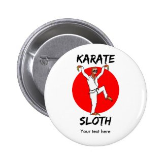 Funny Sloth Karate Japan Flag 2 Inch Round Button