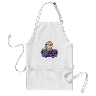 Funny Sloth Reading Slow Cooking Book Adult Apron