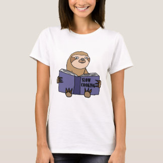 Funny Sloth Reading Slow Cooking Book T-Shirt