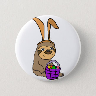 Funny Sloth Wearing Easter Bunny Ears Button