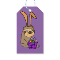 Funny Sloth Wearing Easter Bunny Ears Gift Tags